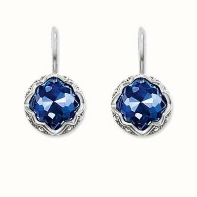 Thomas Sabo Earrings Blue 925 Sterling Silver Blackened/ Synthetic Corundum/ Zirconia H1829-640-1