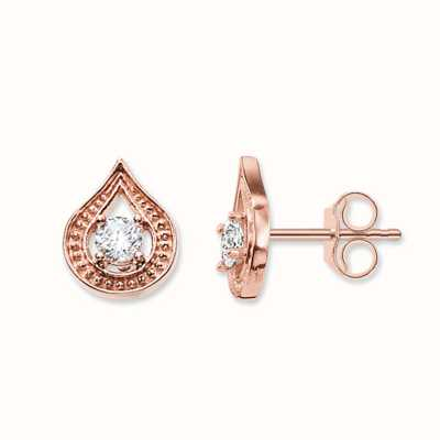 Thomas Sabo Earstuds White 925 Sterling Silver Gold Plated Rose Gold/ Zirconia H1840-416-14