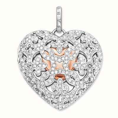 Thomas Sabo Locket White 925 Sterling Silver Gold Plated Rose Gold/ Zirconia PE642-416-14