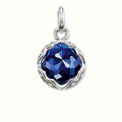 Thomas Sabo Pendant Blue 925 Sterling Silver Blackened/ Synthetic Corundum/ Zirconia PE686-640-1