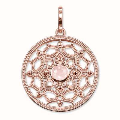 Thomas Sabo Pendant Pink 925 Sterling Silver Gold Plated Rose Gold/ Rose Quartz PE690-536-9