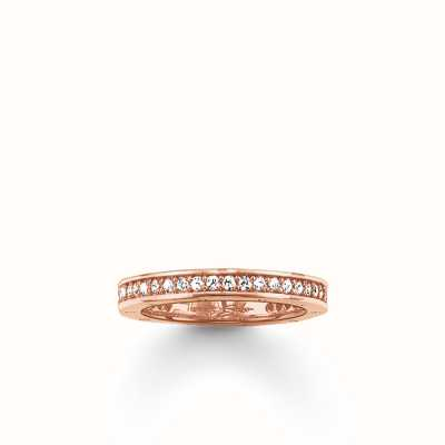 Thomas Sabo Ring White 925 Sterling Silver Gold Plated Rose Gold/ Zirconia TR1700-416-14-52