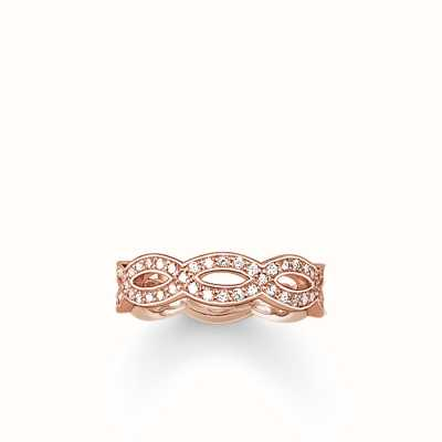 Thomas Sabo Ring White 925 Sterling Silver Gold Plated Rose Gold/ Zirconia TR1973-416-14-56