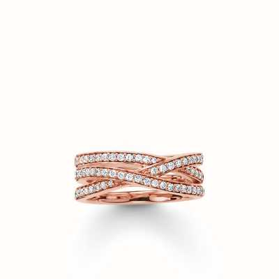 Thomas Sabo Ring White 925 Sterling Silver Gold Plated Rose Gold/ Zirconia TR2012-416-14-56