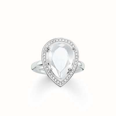 Thomas Sabo Ring White 925 Sterling Silver/ Milky Quartz/ Zirconia TR2043-690-14-54