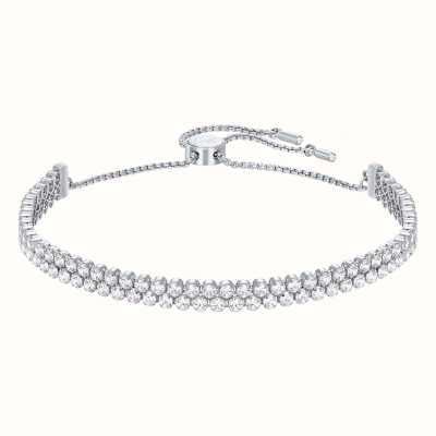 Swarovski Subtle | Rhodium Plated | White | Two Strands Bracelet 5221397