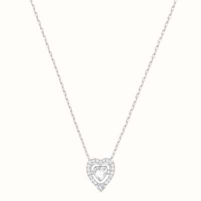 Swarovski Sparkling | Dance Heart Necklace | Rhodium Plated | White 5272365