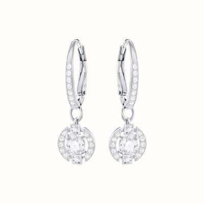 Swarovski Sparkling   Dance Round Pierced Earrings   Rhodium Plated   5272366