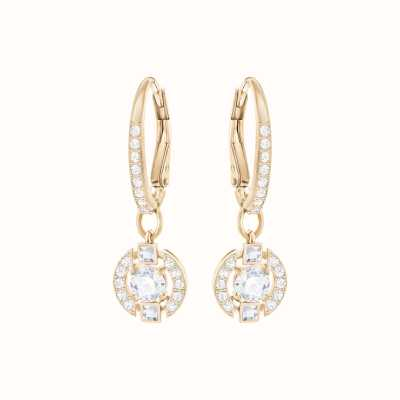 Swarovski Sparkling | Dance Round Pierced Earrings | Rose Gold | White 5272367