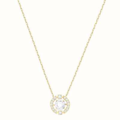 Swarovski Sparkling | Dance Round Necklace | White | Gold Tone Plated 5284186
