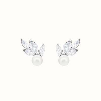 Swarovski Louison   Rhodium Plated   White   Pearl   Earrings 5422683