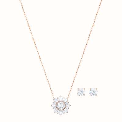 Swarovski Sunshine Set |Rose Gold Tone Necklace | White |Stud Earrings 5480468