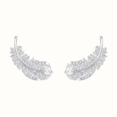Swarovski Nice | Feather Stud Pierced Earrings | Rhodium Plated |White 5482912