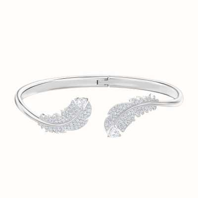 Swarovski Nice | Feather Bangle | Rhodium Plated | White | Size Medium 5482915