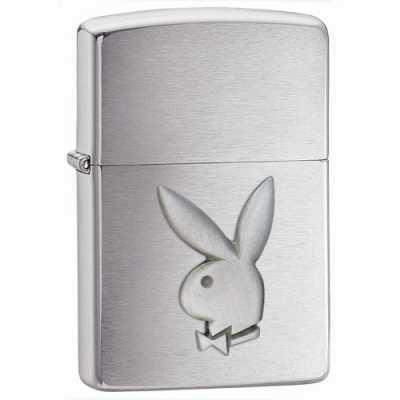 Zippo Playboy Bunny Emblem Lighter Brushed Chrome Finish ZIPPO-200PB.110