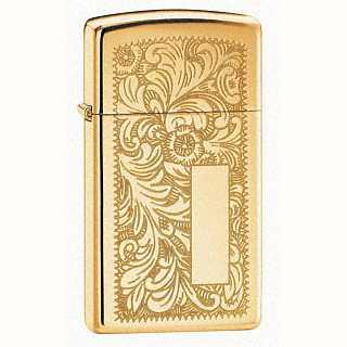 Zippo Slim Venetian Lighter High Polish Brass Finish ZIPPO-1652B