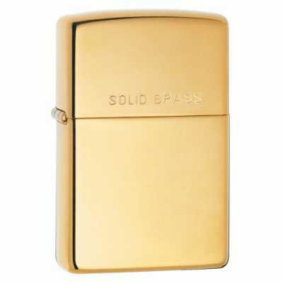 Zippo High Polish Brass Finish Lighter with 'Solid Brass' on lid ZIPPO-254