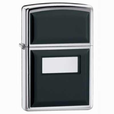 Zippo Ultralite Black Emblem Lighter High Polish Chrome Finish ZIPPO-355
