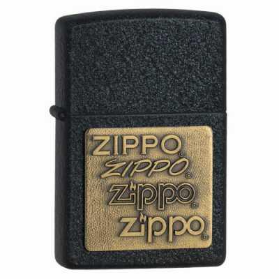 Zippo Black Crackle Lighter with Brass Emblem ZIPPO-362