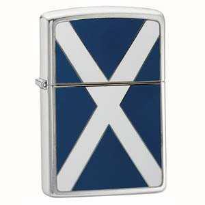 Zippo Scotland Flag Emblem Lighter Brushed Chrome Finish ZIPPO-200S