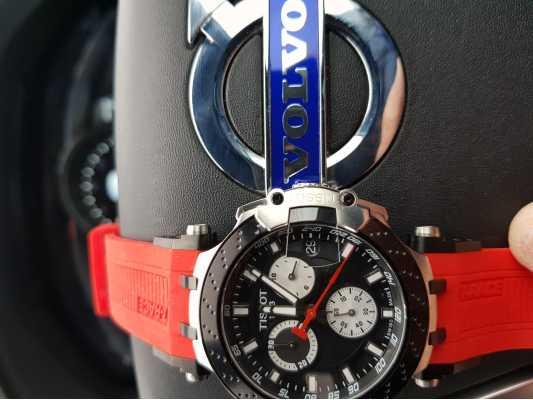 355e4c4a1bd Customer picture of Tissot Mens T-Race Quartz Chrono Red Strap Black Dial  T1154172705100