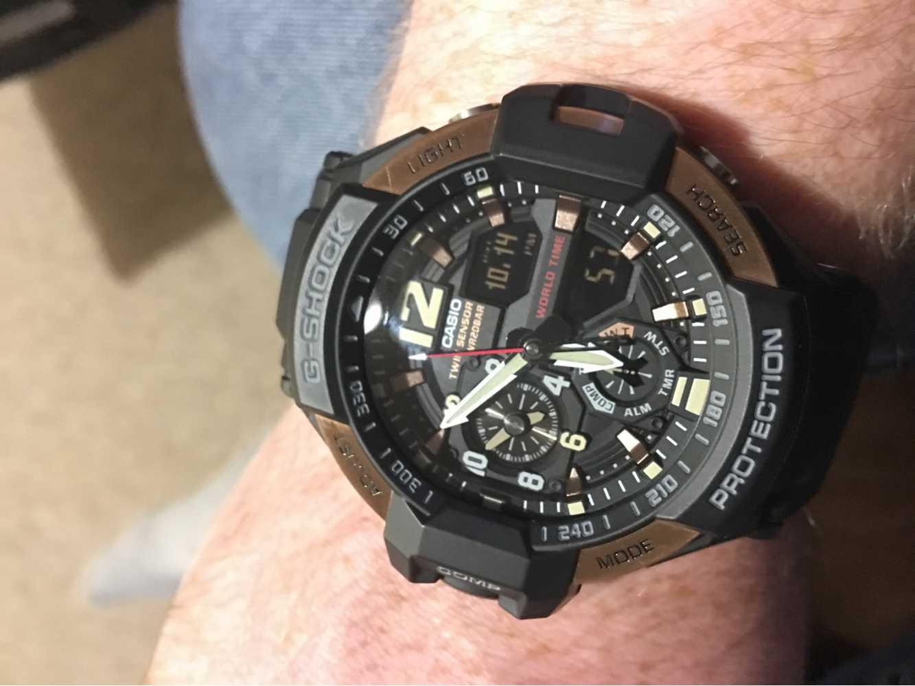 Casio Mens G Shock Aviator Gravity Master Watch Ga 1100rg 1adr 1000 Twin Sensor Close 360