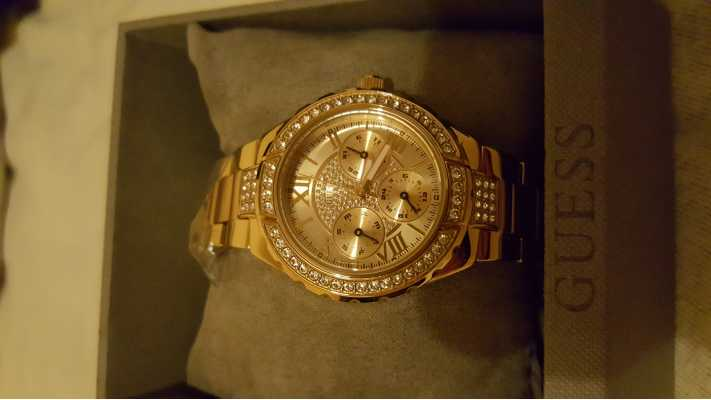Guess Womens Viva Gold-Plate Silver Dial Crystal-Set Watch ...
