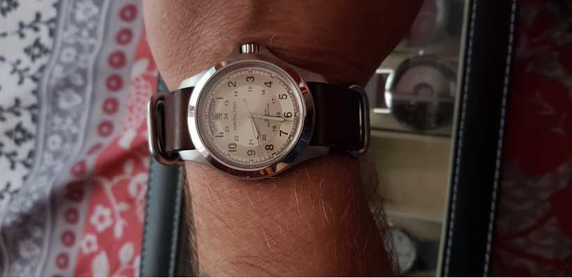 39d82a725a5 Hamilton Khaki Field Auto Brown Leather H64455523 - First Class Watches™
